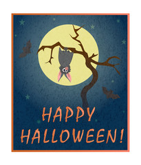 Cute grey bat hanging on a dry tree on background of full moon. Stylish colorful vector illustration of happy Halloween. Template for poster, banner, leaflet, invitation to party, congratulations.