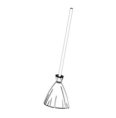 Halloween. Broom from branches on a wooden handle. Silhouettes. Contour. Black and white