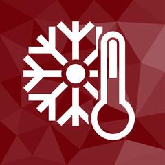 f5c0fdbe647 Thermometer - Icon mit geometrischem Hintergrund rot