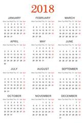 Simple Calendar for 2018 - Vector EPS10