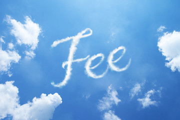 """Fee"" calligraphy cloud word on sky."