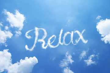 """Relax"" calligraphy cloud word on sky."
