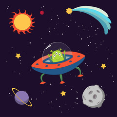 Hand drawn colorful vector illustration of a cute funny alien in a flying saucer in outer space, on a dark background with stars and planets.