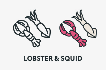 Seafood Concept Lobster and Squid Minimal Flat Line Outline Colorful and Stroke Icon Pictogram