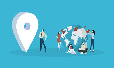 Location. Flat design people and technology concept. Vector illustration for web banner, business presentation, advertising material.