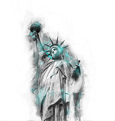 Statue of liberty watercolour grey scale sketch