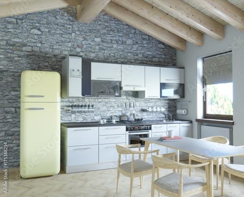 Cucina in mansarda\