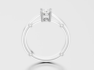 3D illustration white gold or silver decorative solitaire engagement diamond ring with shadow and reflection