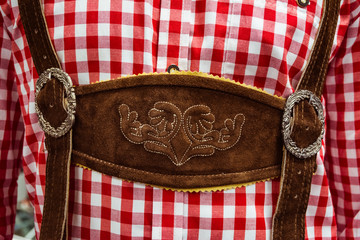 Traditional German Lederhosen Center Chestpiece Closeup Leather Plaid Dress Red White