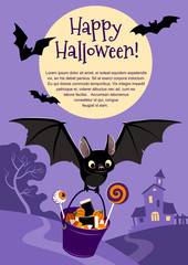 Vector illustration of a cute flying black bat carrying a bucket filled with candy, on purple background with a tree and haunted house in the distance and full moon. Blank template for Halloween theme