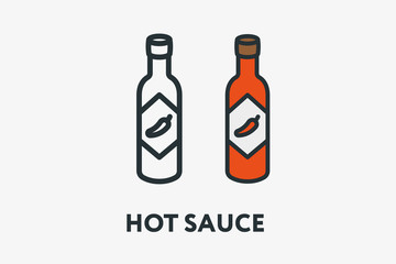 Hot Spicy Chili Pepper Sauce in Red Glass Bottle Minimal Flat Line Outline Colorful and Stroke Icon Pictogram