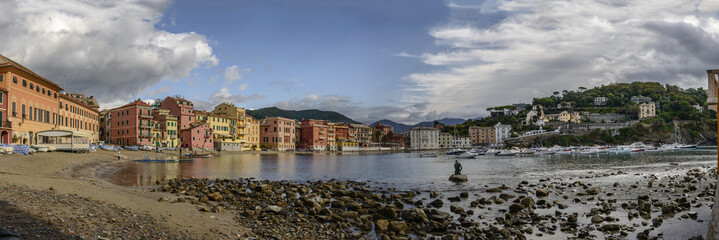 "panoramic cityscape of ""Silenzio"" bay, Sestri Levante , Italy"