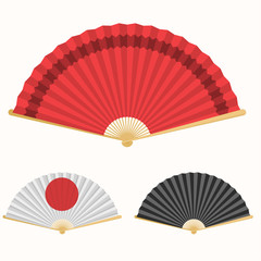 Japan folding fan. Japanese culture symbol. Hand paper fan set
