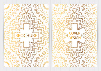 Set of ethnic covers, hand drawn golden patterns, white backgrounds. Vector templates for restaurant menu, flyer, brochure,business card, booklet, banner, etc.