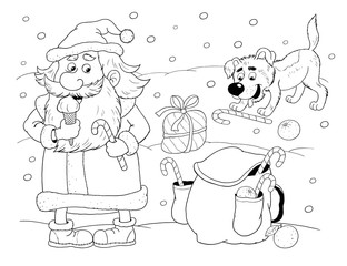 christmas new year year of do coloring page cute santa and his