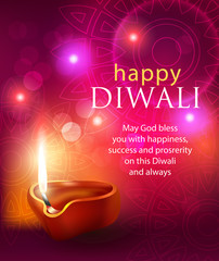 Happy Diwali background with diya and greeting. Vector illustration.