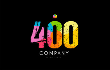 400 number grunge color rainbow numeral digit logo Fototapete