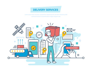 Delivery services. Shopping, receive order, gps tracking, shipment, technical support.