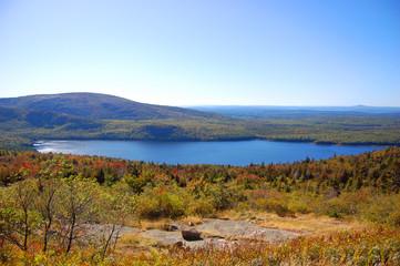 Bubble Pond of Acadia National Park panorama, Cadillac Summit, Maine, USA.