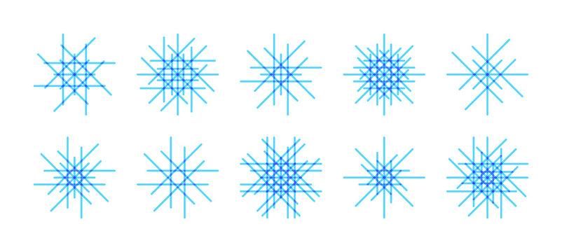 Vector set of asymmetric line snowflake icons on white background. Minimal flat design. Winter  Christmas decoration elements.