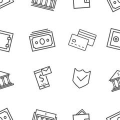 bank line pattern. seamless. Contains such Icons as Wallet,bank,money,safe,credit card and more