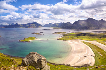 Fotomurales - Lofoten Islands landscape with deach and mountains, Norway