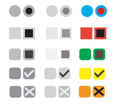 different selection buttons set. selection graphic buttons on white background. election buttons sign.