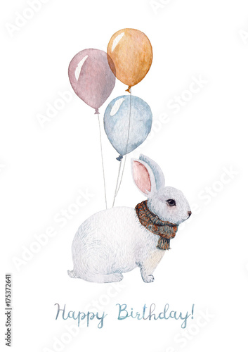 A Happy Birthday Card Made In Watercolor With Illustration Of White Rabbit Wearing Warm