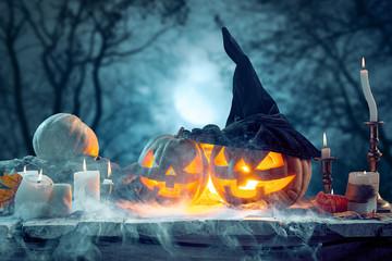 Halloween pumpkins on blue background