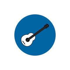 Classic guitar round flat icon vector