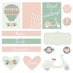 Set of Cards, Hearts and Stickers with Airballoon, Scooter and Floral Motifs