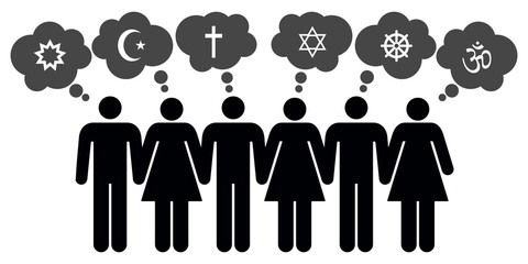 Vector people of different religions Wall mural