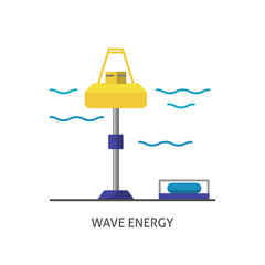Wave energy station icon in flat style.