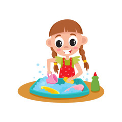 Aluminium Prints Cats Little girl washing dishes in water sink, daily routine, home chore, cartoon vector illustration isolated on white background. Cartoon little girl washing dishes, helping with house chore