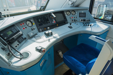 Interior of a train driver cab