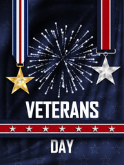 Veteran's Day. Congratulations on the veteran's day in the United states of America. Golden and Silver star on the ribbon. Wavy fabric with stars. Festive fireworks. Vector illustration.
