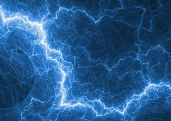 Blue lightning, plasma and power background