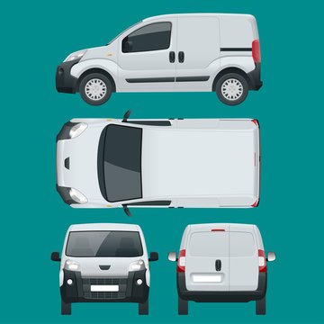 Small Van Car. Isolated car, template for car branding and advertising. Front, rear , side, top, isometry front and back. Change the color in one click. All elements in groups on separate layers.