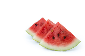 Ripe watermelon , healthy eating lifestyle.Sliced of watermelon isolated white background.