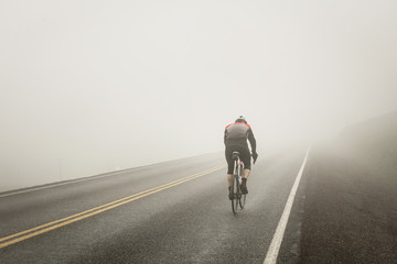 Riding int he fog