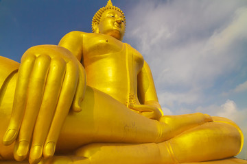 The famous biggest golden buddha statue at Wat muang, Angthong province, Thailand