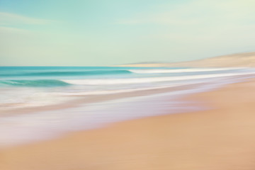 Wall Mural - Sea and Sand Abstract. Image displays soft, pastel colors in a retro style.