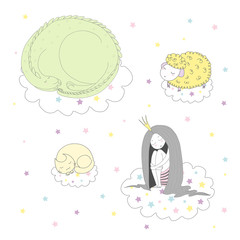 Hand drawn vector illustration of a cute funny curled up dragon, cat, sheep and princess floating on clouds among stars, sleeping.