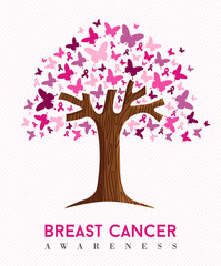 Breast cancer awareness pink butterfly tree art
