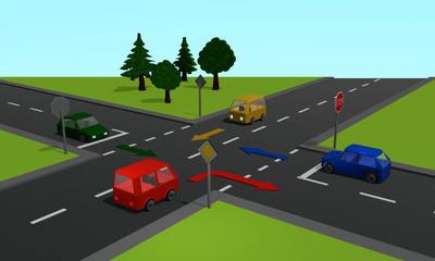 Verkehrssituation: vier Autos an einer Kreuzung mit Stoppschild und Richtungspfeilen