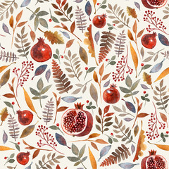 Seamless pattern with wonderful autumn berries, branches, leaves and garnet on a light background. Fresh and bright colors of autumn painted in watercolor!