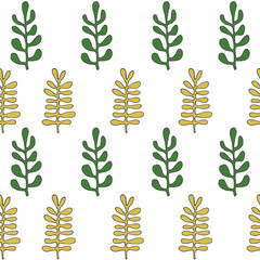 Green and yellow herbs seamless pattern. Scandinavian background. Nature style.