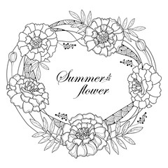Vector wreath with Tagetes or Marigold flower, bud and leaf in black isolated on white background. Ornate Tagetes flowers in contour style for summer design, coloring book, Mexican Day of the dead.