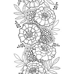 Vector seamless pattern with outline Tagetes or Marigold flower and leaves in black on the white background. Monochrome floral pattern in contour style for summer design and coloring book.