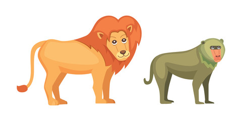 Baboon monkey and lion savanna animals in cartoon style